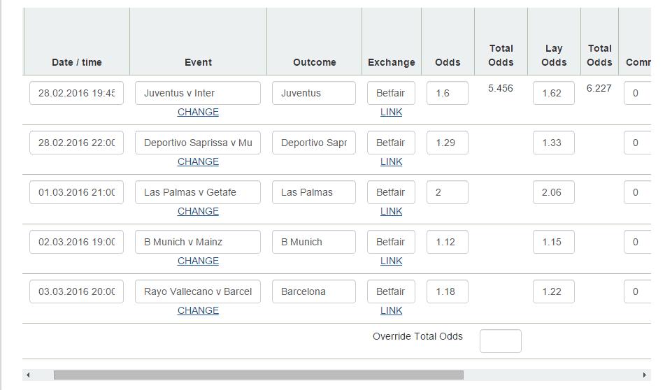 Betting Calculator Screen