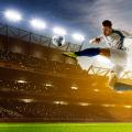 footballer mid air kick