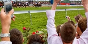 Holding phone for horse racing