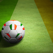 Flag of Republic of Ireland with football
