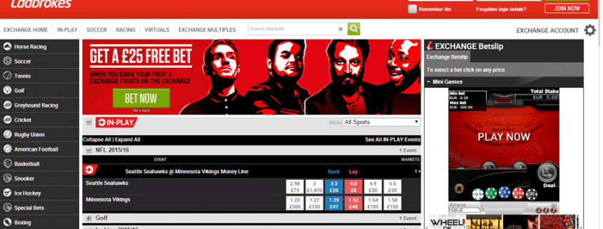 Ladbrokes exchange screenshot