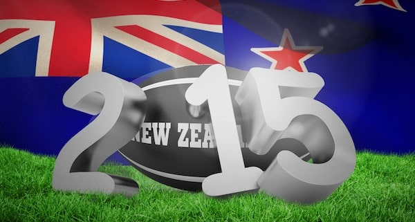 New zealand rugby 2015 message against new zealand flag