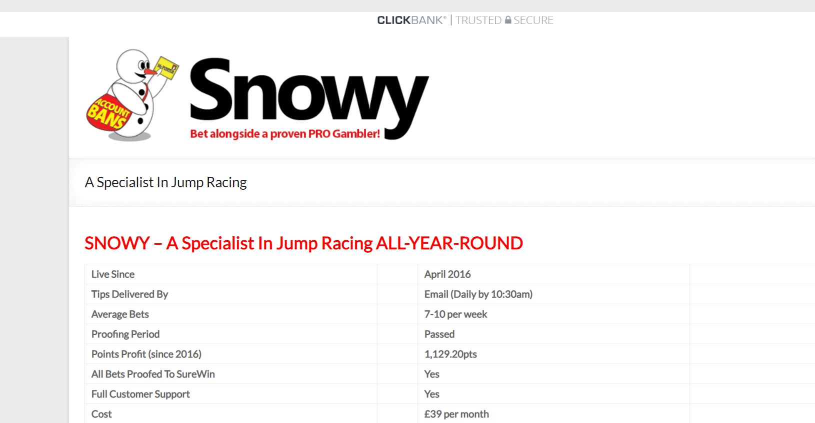 Snowy - Results Update - Honest Betting Reviews