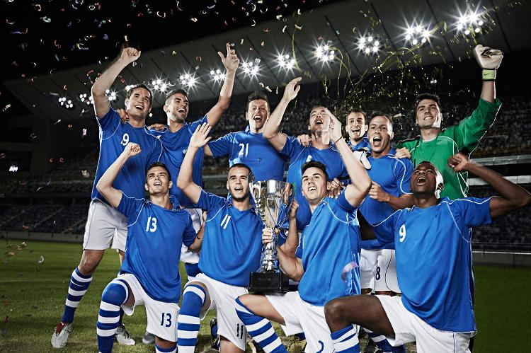 football team celebrating