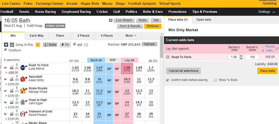 lay betting betfair blog