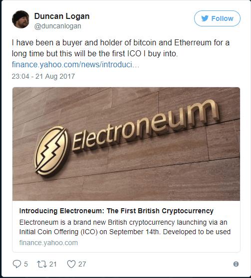Duncan Logan tweet on Electroneum