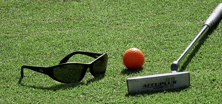 Golf Club, Ball and Sunglasses
