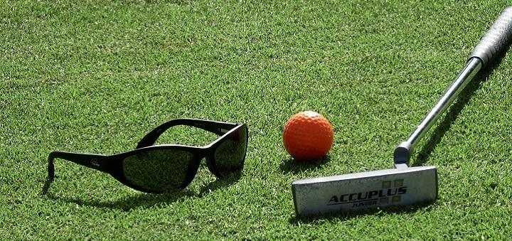 Golf Club, Ball and Sunglasses