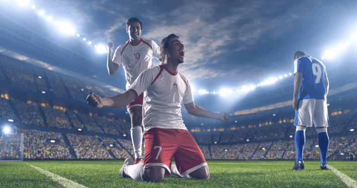 football players celebrating