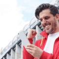man celebrates betting win